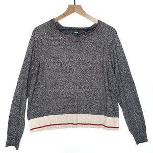 Roots Canada Boxy Grey Marled Sweater Stripe Trim